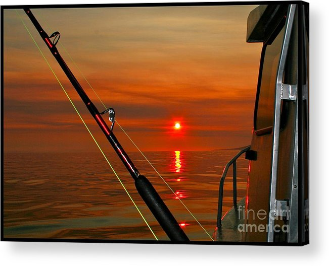 Sunset Acrylic Print featuring the photograph Fishing The Midnight Sun by Rick Monyahan