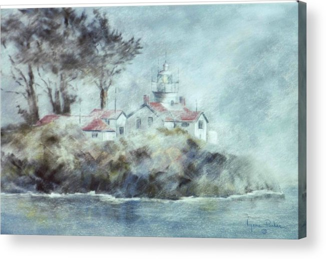 Lighthouse Acrylic Print featuring the painting Fog At Batterypoint Lighthouse by Lynne Parker