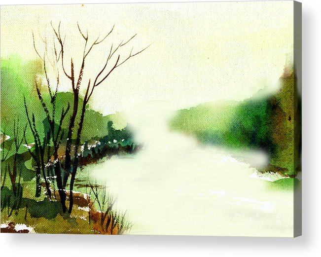 Water Color Acrylic Print featuring the painting Fog1 by Anil Nene