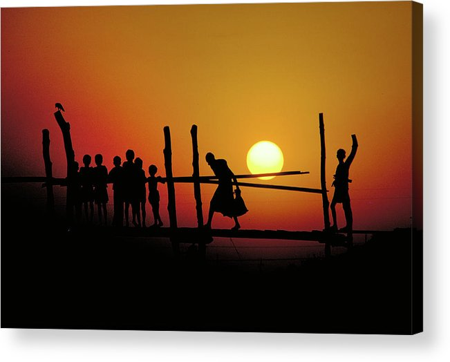 Poverty Acrylic Print featuring the photograph Footbridge In Bangladesh by Carl Purcell
