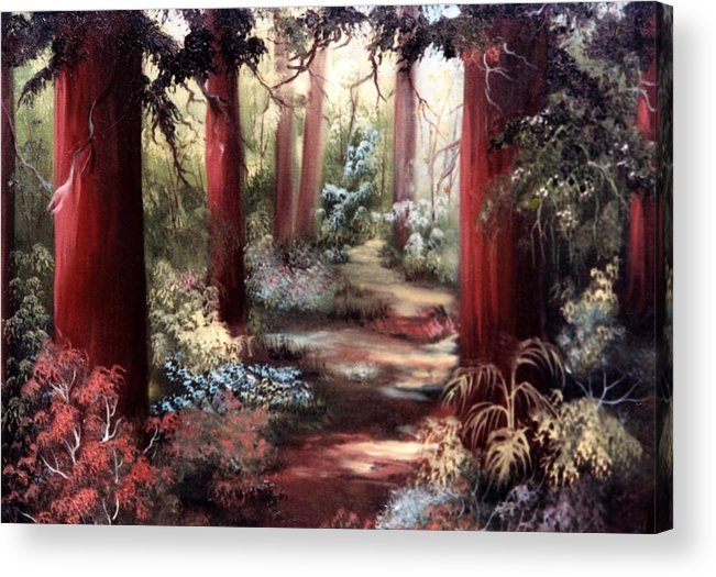 Oil Painting Acrylic Print featuring the painting Forest Path by Joni McPherson