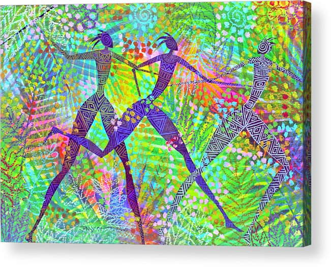 Jungle Tropical Rain Forest Figures Colourful Magical Acrylic Print featuring the painting Freedom In The Rain Forest by Jennifer Baird