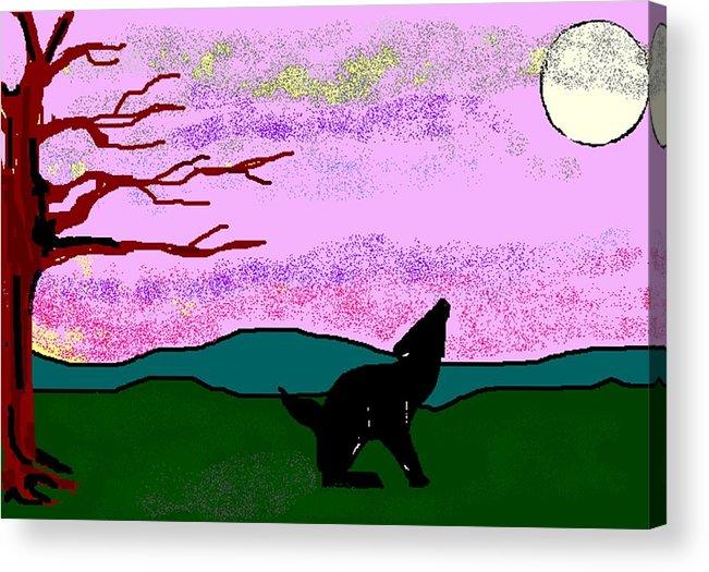 Coyote Acrylic Print featuring the digital art Full Moon by Carole Boyd