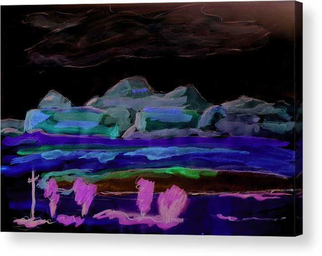 Kevin Callahan Acrylic Print featuring the painting Gallup New Mexico by Kevin Callahan