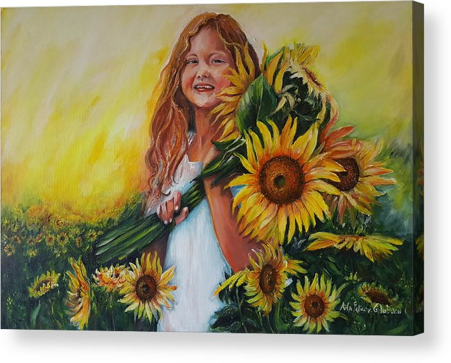 Art Acrylic Print featuring the painting Girl With Sunflowers by Rita Fetisov