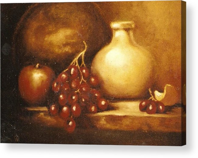Still Life Acrylic Print featuring the painting Golden Carafe by Jordana Sands