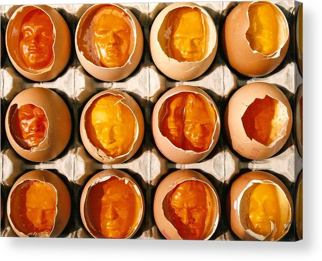 Eggs Acrylic Print featuring the sculpture Golden Eggs by Mark Cawood