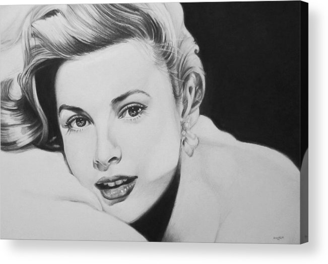 Grace Kelly Kelley Rear Window Actress Hollywood Cary Grant Charcoal Portrait Black And White Pencil Female Woman Acrylic Print featuring the drawing 'grace' by Steve Hunter