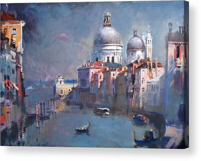 Landscape Acrylic Print featuring the painting Grand Canal Venice by Ylli Haruni