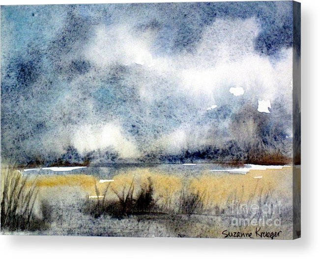 Landscape Acrylic Print featuring the painting Gray Day by Suzanne Krueger
