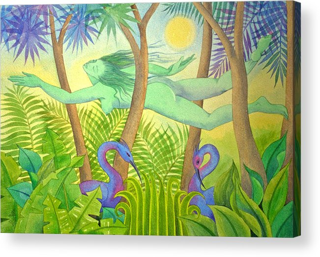 Jungle Flying Dream Exotic Birds Tropical Forest Sensuous Acrylic Print featuring the painting Green Lady Flying by Jennifer Baird