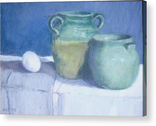 Pastel Still Life Acrylic Print featuring the painting Green Pots by Dolores Holt
