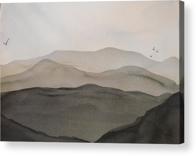 Landscape Acrylic Print featuring the painting Grey Mountains by Liz Vernand