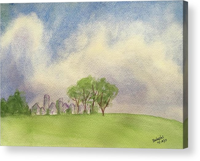 Watercolor Landscape Big Sky Cumulous Clouds Small Town Trees Open Field Spacious Quiet Peaceful Greens Blues Pinks Acrylic Print featuring the painting Hamlin Town by Belinda Balaski