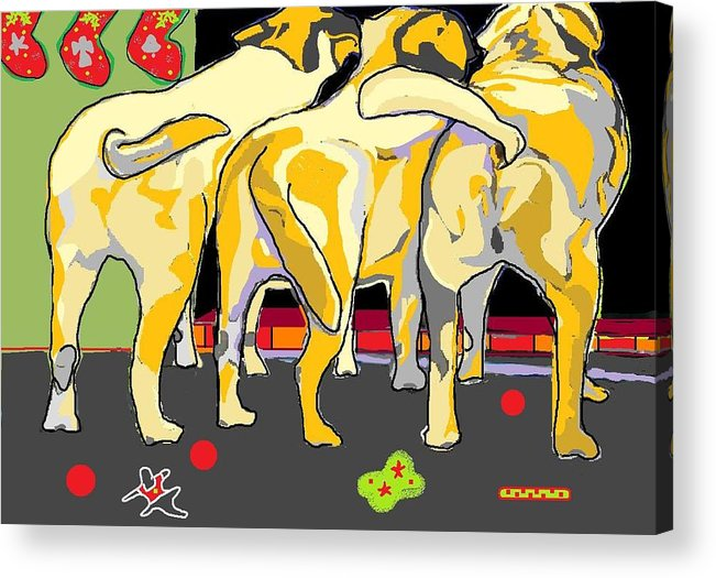 Labradors Acrylic Print featuring the digital art He Doesn't Use The Door by Su Humphrey