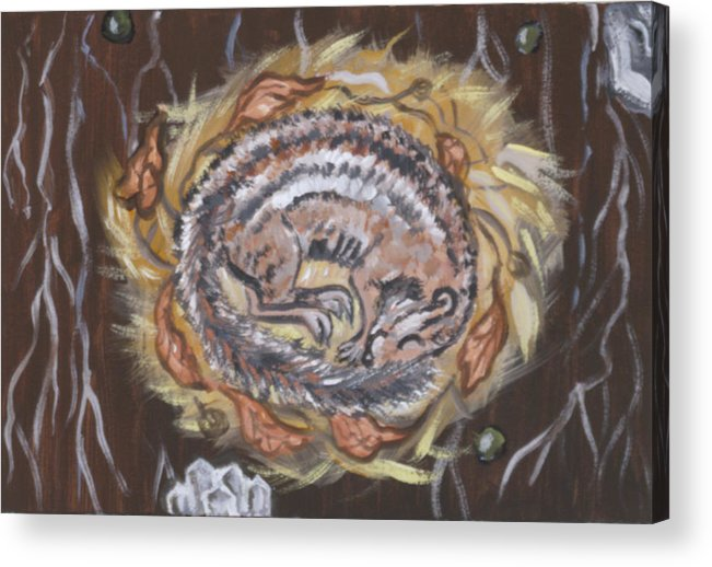 Animal Acrylic Print featuring the painting Hibernating Chipmunk From River Mural by Dawn Senior-Trask