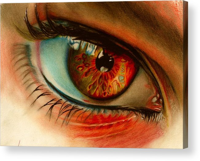 Eye. Colour Pencil Acrylic Print featuring the drawing i by Brian Scott