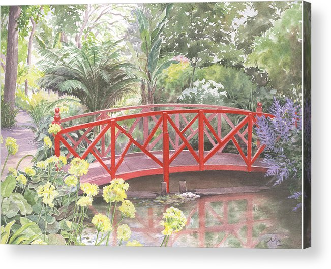 Landscape Acrylic Print featuring the painting In Abbotsbury Subtropical Gardens. by Maureen Carter