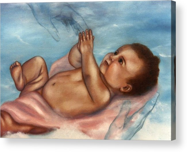 Portrait Acrylic Print featuring the painting In Gods Hands by Joni McPherson