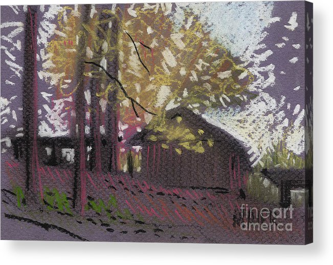 Pastel Acrylic Print featuring the drawing James's Barns 9 by Donald Maier