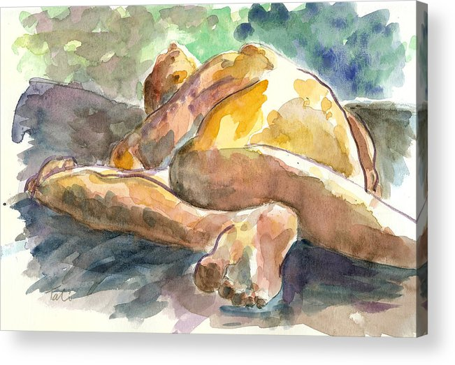 Nude Man Acrylic Print featuring the painting Just Him. by Tali Farchi
