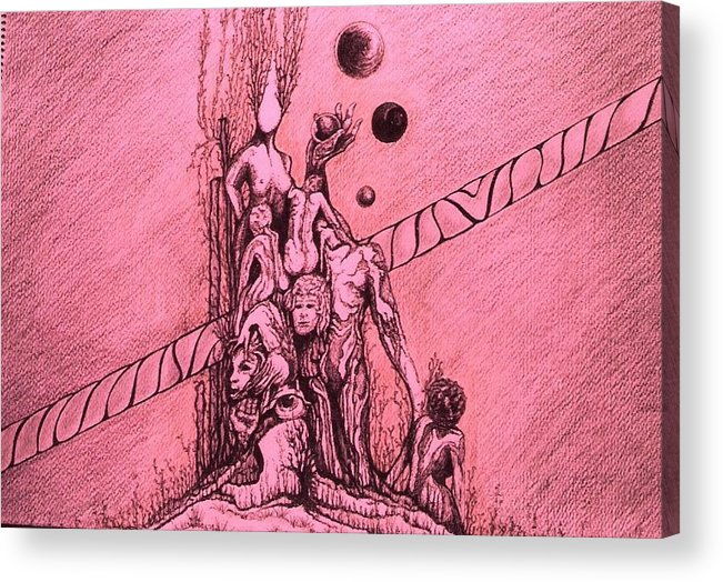 Surreal Artwork Acrylic Print featuring the painting La Familia by Jordana Sands
