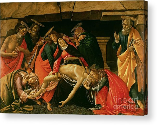Lamentation Acrylic Print featuring the painting Lamentation Of Christ by Sandro Botticelli