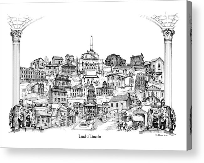 City Drawing Acrylic Print featuring the drawing Land Of Lincoln by Dennis Bivens