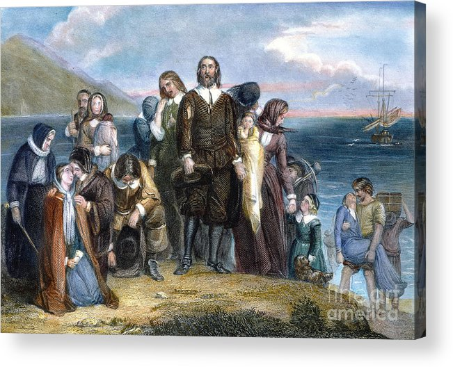 1620 Acrylic Print featuring the photograph Landing Of Pilgrims, 1620 by Granger