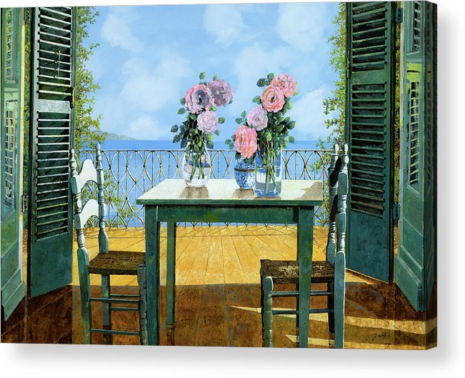 Terrace Acrylic Print featuring the painting Le Rose E Il Balcone by Guido Borelli