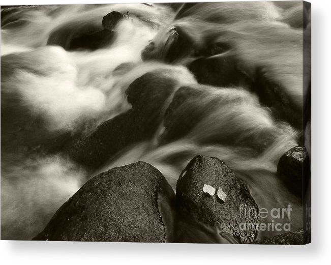Waterfall Acrylic Print featuring the photograph Leaves And Waterfall by Timothy Johnson