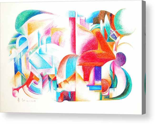 Abstract Acrylic Print featuring the drawing Les Temps Modernes by Muriel Dolemieux