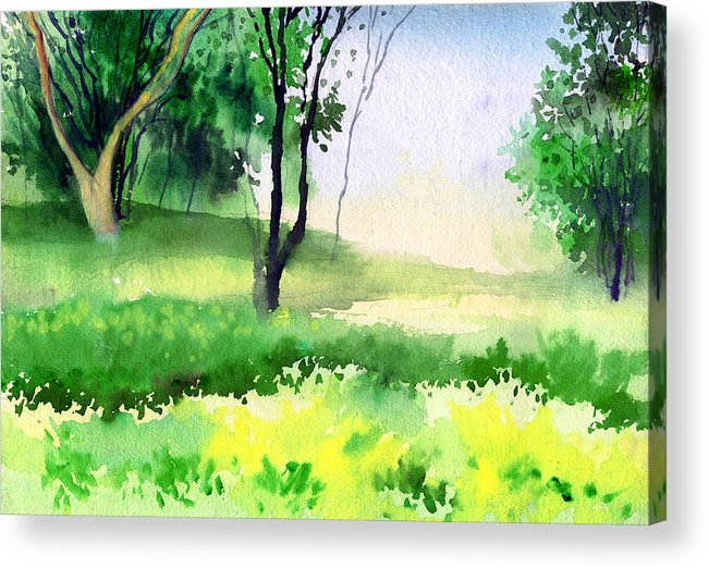 Watercolor Acrylic Print featuring the painting Let's Go For A Walk by Anil Nene