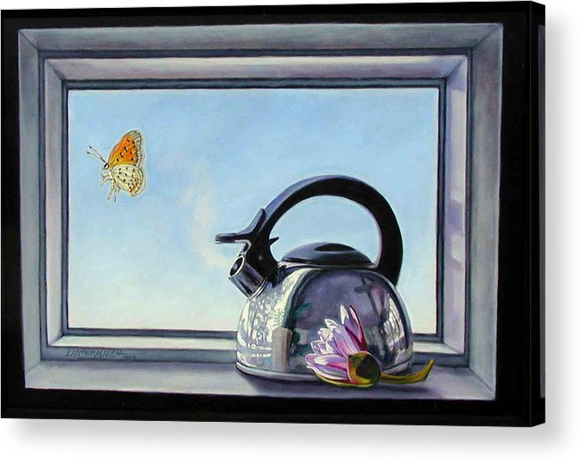 Steam Coming Out Of A Kettle Acrylic Print featuring the painting Life Is A Vapor by John Lautermilch