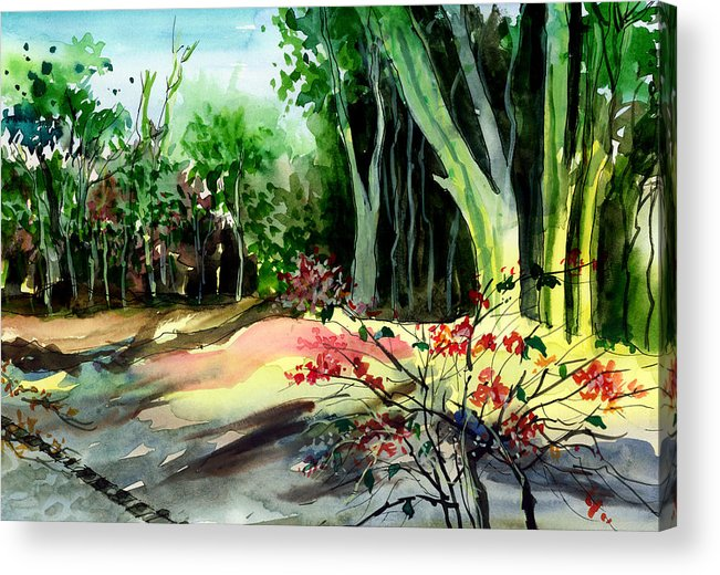 Watercolor Acrylic Print featuring the painting Light In The Woods by Anil Nene