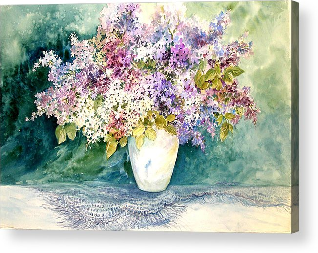 Lilacs;purple Lilacs;vase;floral Watercolor; Acrylic Print featuring the painting Lilacs And Lace by Lois Mountz