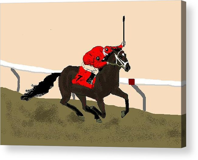 Horses Acrylic Print featuring the digital art Lionheart by Carole Boyd
