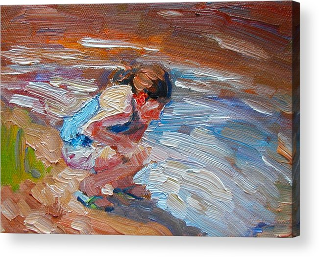 Child Acrylic Print featuring the painting Looking For Pollywogs by Kathy Busillo