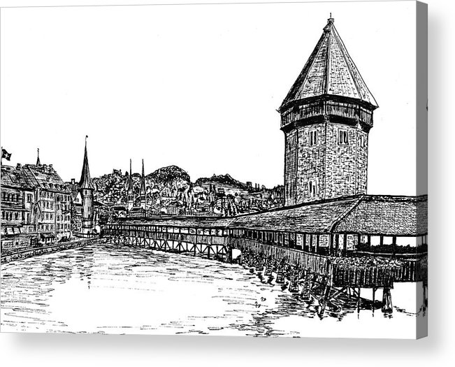 Lucerne Acrylic Print featuring the drawing Lucerne by Frank SantAgata