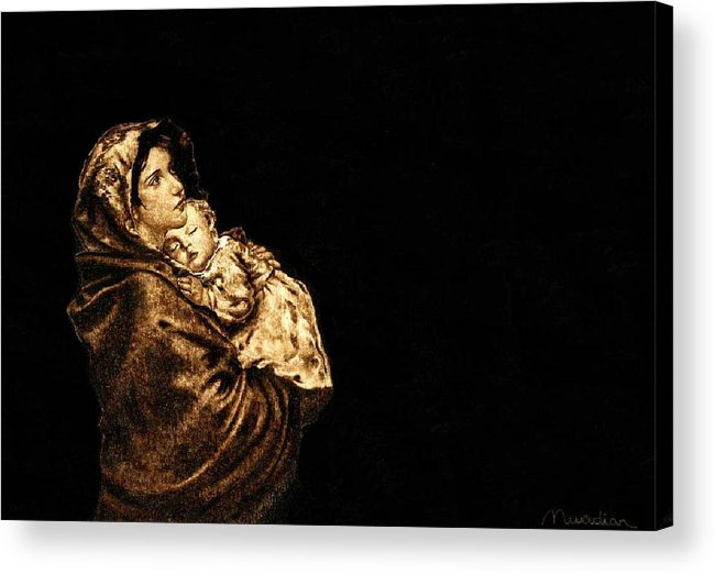 Dino Muradian Acrylic Print featuring the pyrography Madonnina by Dino Muradian