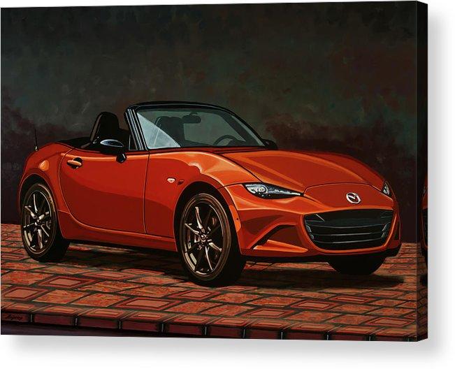 Mazda Mx-5 Miata Acrylic Print featuring the painting Mazda Mx-5 Miata 2015 Painting by Paul Meijering
