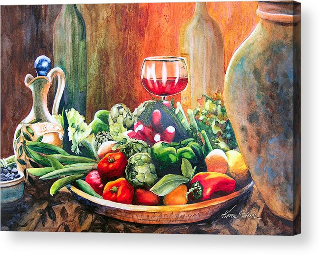 Still Life Acrylic Print featuring the painting Mediterranean Table by Karen Stark