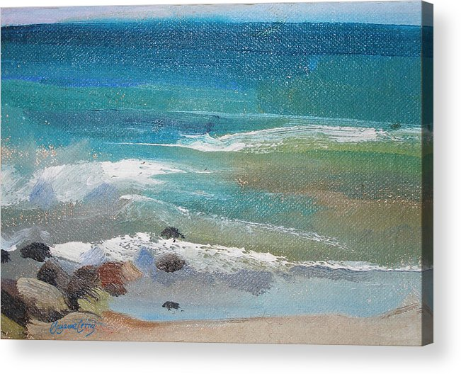 Mendocino Acrylic Print featuring the painting Mendocino Coast-ocean View by Suzanne Cerny