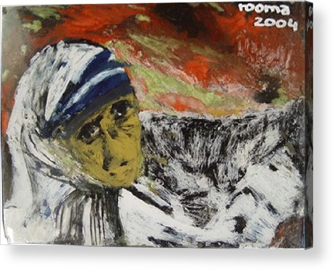 Saint Acrylic Print featuring the glass art Miracle Mother by Rooma Mehra