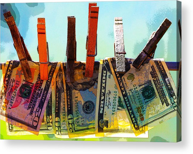 Clothespins Acrylic Print featuring the digital art Money Laundering by Karon Melillo DeVega