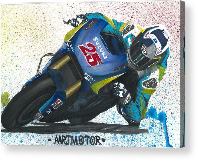 Watercolours Motogp Artist Suzuki Motorbike Motorcycle Motoart Fanart Elbowdown Racing Racingcolours Velocity Mixed Media Acrylic Print featuring the painting Motogp - Maverick Full Gas by Adrian Lopez Lozano