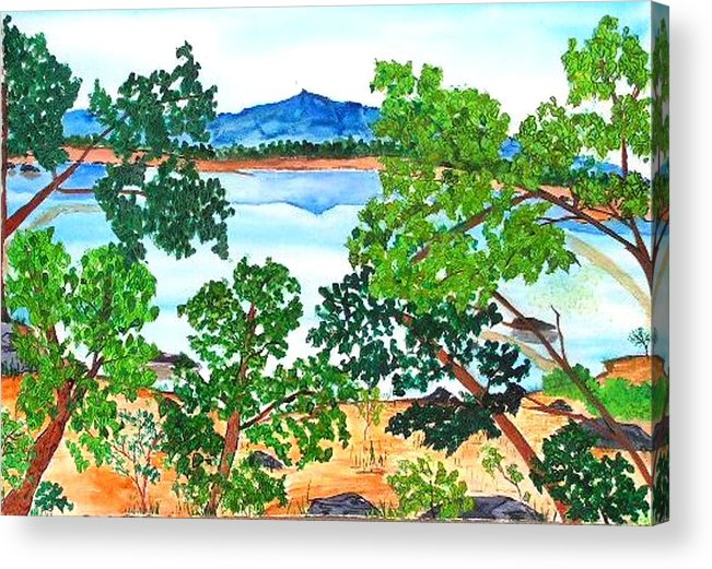 Landscape Acrylic Print featuring the painting Mt. Katahdin by Katina Cote
