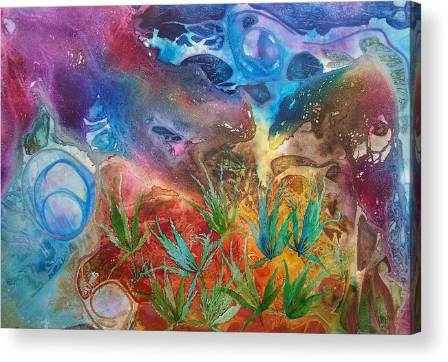 Mixed Media Acrylic Print featuring the painting Mysteries Of The Ocean by Vijay Sharon Govender
