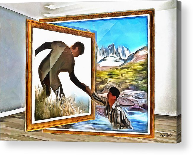 3d Anamorphic Acrylic Print featuring the painting Night At The Art Gallery - One To Another by Wayne Pascall