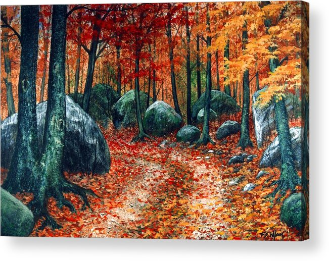 Landscape Acrylic Print featuring the painting October Woodland by Frank Wilson
